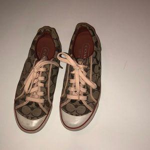 Coach Barrett sneakers in a peach shade and brown